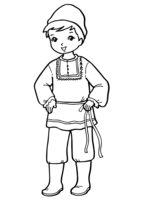 Раскраска Мальчик в национальном костюме