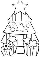 Раскраска Маленькая елочка с двумя подарками