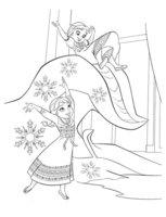 Раскраска Маленькие Анна и Эльза