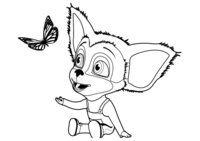 Раскраска Малыш Барбоскин и бабочка