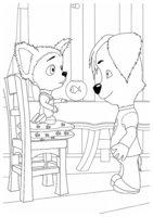 Раскраска Малыш и Дружок с аквариумом