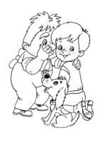 Раскраска Малыш и Карлсон секретничают