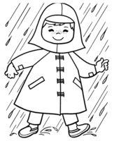 Раскраска Малыш под дождём
