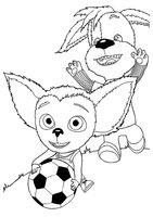 Раскраска Малыш с Дружком играют в футбол