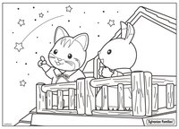 Раскраска Малыши Sylvanian - астрономы