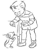 Раскраска Малышу подарили щенка