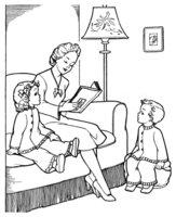 Раскраска Мама читает книгу детям 8 марта