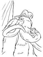 Раскраска Мамонт Мэнни крепко держит малыша