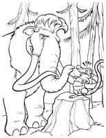 Раскраска Мамонт Мэнни в лесу