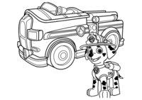 Раскраска Маршал и его машина