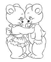 Раскраска Медвежата на День всех влюблённых
