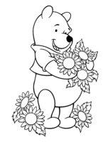 Раскраска Медвежонок с цветами