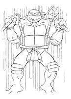 Раскраска Микеланджело тренируется с нунчаками