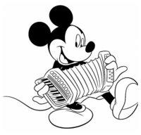 Раскраска Микки Маус играет на аккордионе