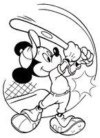 Раскраска Микки Маус с бейсбольной битой