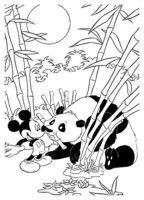 Раскраска Микки Маус встретил панду