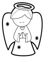 Раскраска Милый рождественский ангелочек