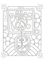 Раскраска Миньон пацифист