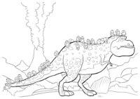 Раскраска Миньоны и динозавр