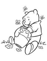 Раскраска Мишка очень любит мёд
