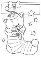 Раскраска Мишка в рождественском носке и звездочки