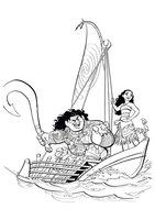 Раскраска Моана и друзья в лодке