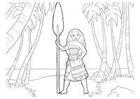 Раскраска Моана среди пальм