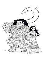 Раскраска Моана вместе с Мауи
