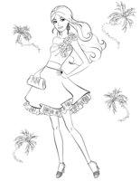 Раскраска Модное платье Барби