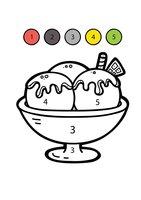 Раскраска Мороженое по цифрам