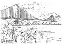 Раскраска мост Золотые Ворота