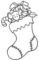 Раскраска Мышонок и рождественский носок