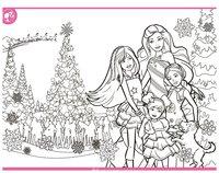 Раскраска На ёлке с Барби