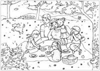 Раскраска На пикнике всей семьёй