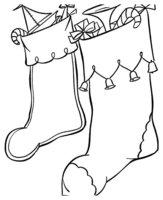 Раскраска Носочки на Рождество с колокольчиками