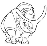 Раскраска Носорог из Ледникового периода