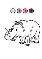 Раскраска Носорог по цифрам