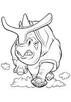 Раскраска Носорог в погоне