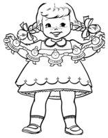 Раскраска Новый год. Девочка с гирляндой из игрушек