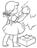 Раскраска Новый год. Девочка украшает елку