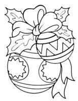 Раскраска Новогодние шары с бантом