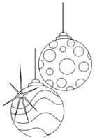 Раскраска Новогодние шары в полосочку и кружочки