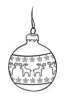 Раскраска Новогодний шар с оленями