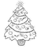 Раскраска Новогодняя елка с шарами и птичками