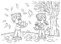 Раскраска Осень за окном