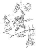 Раскраска Осьминог Сквидвард слетел с велосипеда