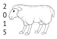 Раскраска Открытка 2015 с овечкой