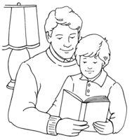 Раскраска Папа и сын на День Защитника Отечества