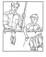 Раскраска Папа и сын на рыбалке 23 февраля