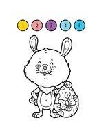 Раскраска Пасхальный кролик по цифрам